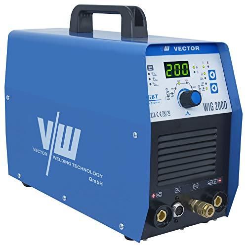 Vector Kombi Inverter Schweißgerät AC/DC WIG 200D mit 200 Ampere Stahl/Edelstahl/ALU Schweißen, HF-Zündung IGBT Elektroden Schweißmaschine MMA E-HAND Inverter Welder