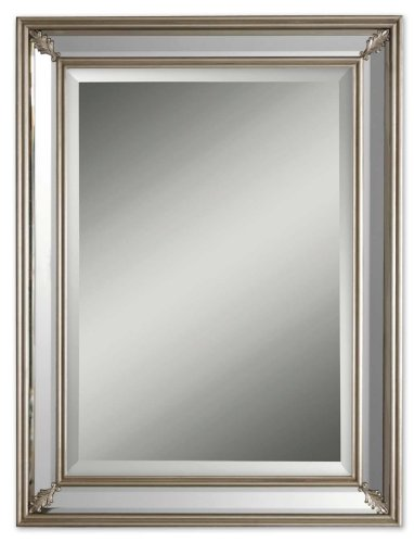 """CC Home Furnishings 34"""" Antiqued Style Silver Framed Decorative Beveled Rectangular Mirror"""