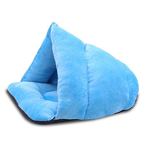 Guomaomao Huisdier Bed Kat Bed Tent Grot Hond Slaapzak Dikke Fleece Warm Knuffel Burrow House Pad Kittens Puppy Gezellige Nest, Blauw
