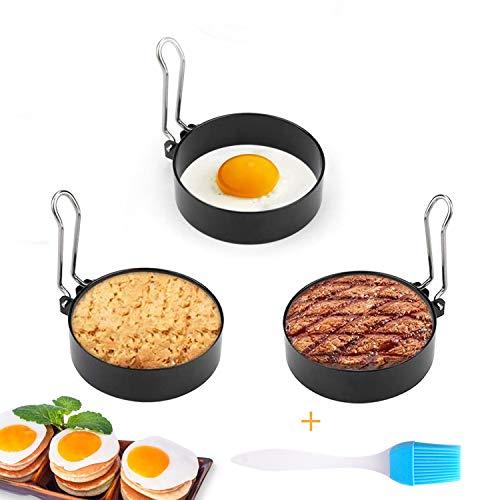 BOJLY Anillos de Huevo Antiadherentes con Mango 3 Pcs, Forma Redonda Molde Panqueque Forma de Huevo Frito para Muffins de Huevo panqueques