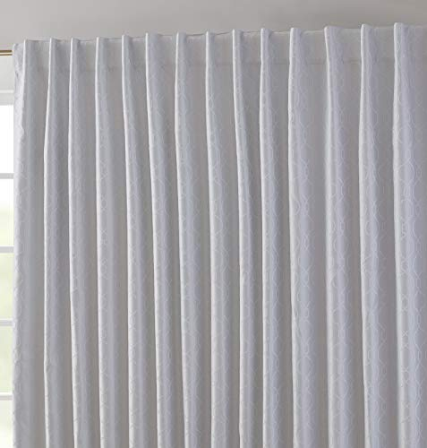 HLC.ME Franklin Moroccan Trellis 100% Complete Full Blackout Thermal Insulated Extra Wide Back Tab Curtain Panel for Sliding Glass Patio Door - Energy Savings & Soundproof (100 x 84 inch Long, White)