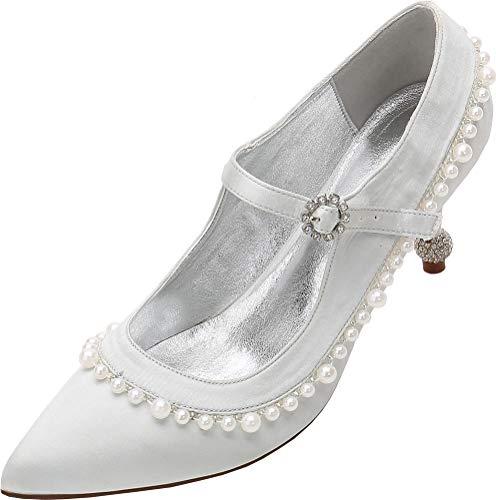Zapatos de novia para mujer, con perlas y diamantes de imitación, zapatos de corte sin cordones, color Plateado, talla 38 EU