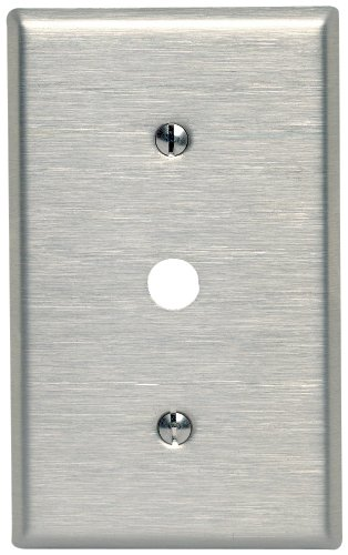 Leviton 84018-40 1-Gang .406-Inch Hole Device Telephone/Cable Wallplate, Strap Mount, Stainless Steel