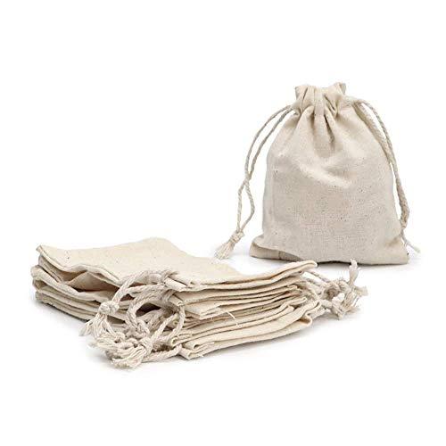 RUBY - 48 Bolsas de algodón con cordón Ajustable, Bolsa de Regalo, Bolsas de Tela Manualidades, Bolsa de Tela para Pintar, Bolsa de cumpleaños (Talla S)