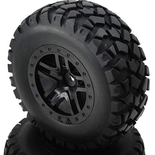 hobbysoul 4pcs RC 1/10 Short Course Tires Hex 12mm Wheels for Traxxas Slash Pro-Line Car