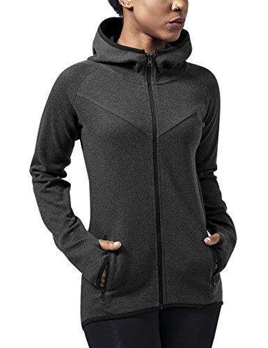 Urban Classics TB1325 Damen Kapuzenpullover Ladies Athletic Interlock Zip Hoody Grau (Charcoal 91), Small