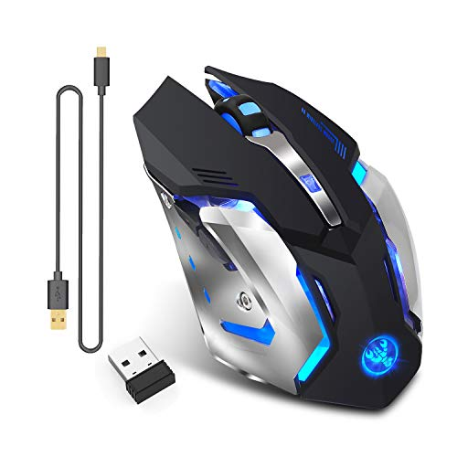 Rechargeable 2.4Ghz Wireless Gaming Mouse with USB Receiver,7 Colors Backlit for MacBook, Computer PC, Laptop (600Mah Lithium Battery)