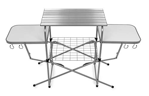 Camco Deluxe Folding Grill Table, Great for Picnics, Tailgating, Camping, RVing and Backyards; Quick Set-up and Folds Down to Only 6 Inches Tall for Convenient Storage (57293)