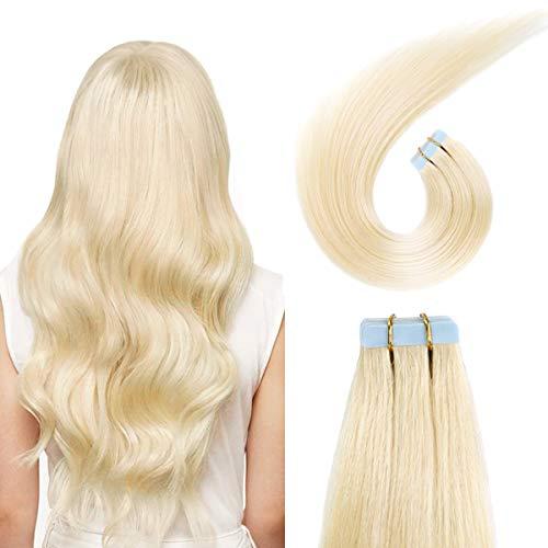 SUYYA Tape in Hair Extensions Bleach Blonde 100% Real Human Hair 20 inches 20pcs 50g/pack Straight Seamless Skin Weft Tape in Human Hair Extensions Blonde(20 inches #613 Bleach Blonde)