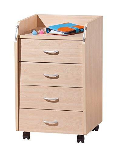Inter Link Rollcontainer Bürocontainer Rollschrank Schubladenkommode Büroschrank KF-Board Ahorn Nachbildung B x H x T: 40 x 65 x 36 cm