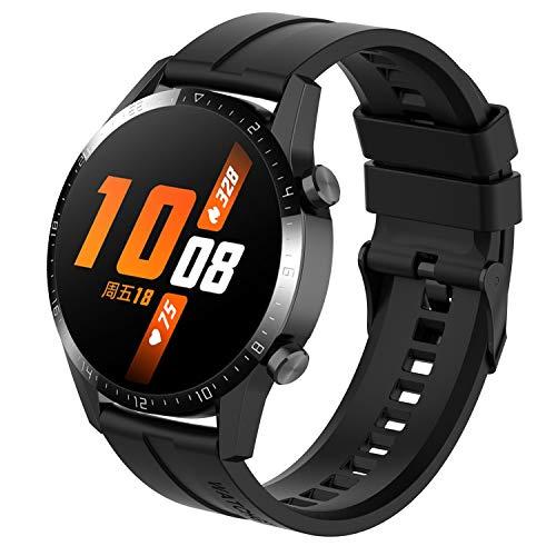 Tosenpo Correa para Huawei Watch GT 2 46mm/Huawei Watch GT/Watch GT 2e,Correas de Reloj Deportivas Ajustables de Silicona de Repuesto con Hebilla negra (Negro)