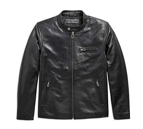 Harley-Davidson Men's Rider Spirit Slim Fit Leather Jacket, Black (Large)
