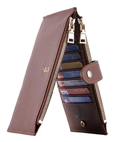 Travelambo Womens Walllet RFID Blocking Bifold Multi Card Case Wallet with Zipper Pocket Crosshatch (Brown Deep 8119)