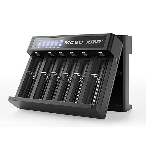 Caricabatterie Xtar MC6C Smart agli ioni di litio 18650 18700 20700 21700 22650 25500 26650 Flat-32650