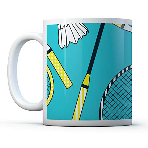 11oz Ceramic Cup Badminton Shuttlecock Best Present for Your Lover Friends Mates