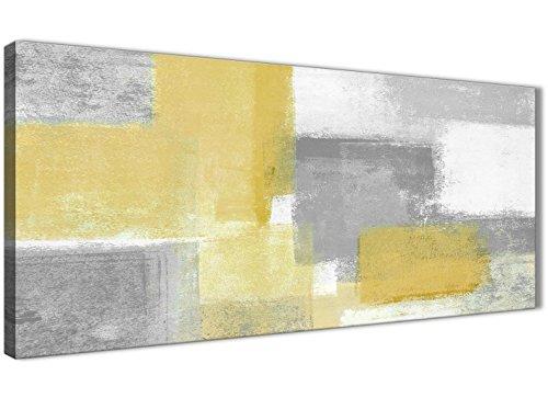 Amarillo mostaza gris salón accesorios cuadros lienzo–abstracto