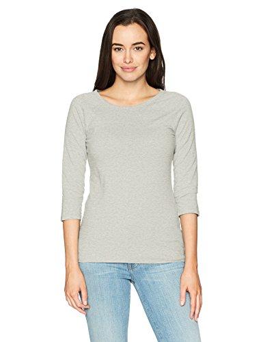 Hanes Women's Stretch Cotton Raglan Sleeve Tee, Grey Heather, Large