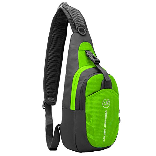 MPTECK @ Verde Impermeabili da Crossbody Bag Sportivo Borse a Spalla Zaino Monospalla Petto Borse Palestra Casual Marsupio Zainetto Borsa per Uomo e Donna per Esterni Trekking Escursionismo Viaggio