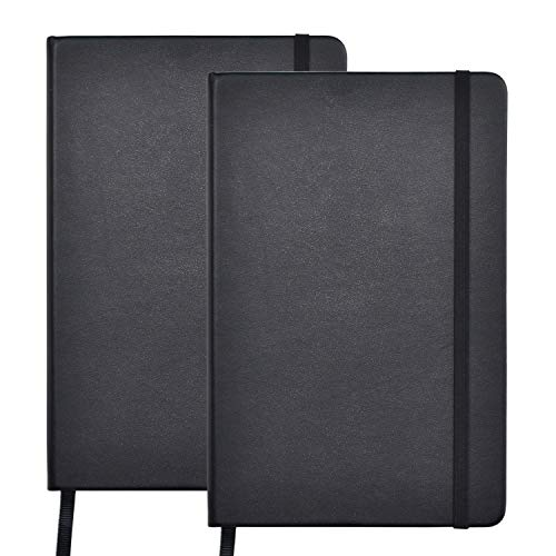 """2 Pack Notebooks Journals, Classic Ruled Notebook, 130Gsm Premium Thick Paper Lined Journal, Black Hardcover Notebook for Office Home School Business Writing Note Taking Journaling, 5.4""""×8.3"""""""