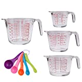 Glass Measuring Cup and Spoon Set,QAPPDA Glass Measuring Tool With Measurement 4 Pack 1 Cup,2 Cup,4 Cup,6 Cup,Clear Bakeware Prepware with Plastic Measuring Spoon 5 Pack