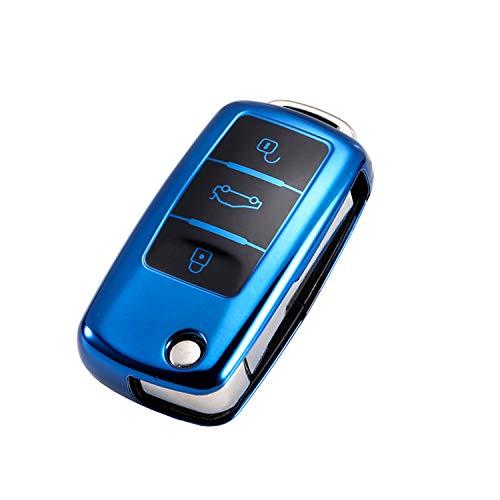 CONKOR Schlüsselhülle - TPU-Hülle für Autoschlüssel in blau, passend für VW, Skoda, Seat - Effektiver Schutz, Hochglanz Auto-Liebhaber - Auto-Zubehör