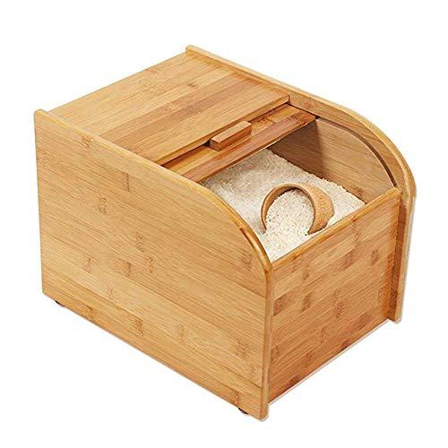 DFJU Cilindro de arroz, Caja de arroz Cubo de arroz doméstico de Madera Completamente Cerrado Cubo Grueso a Prueba de Insectos Gran Capacidad Tres especificaciones, 13'x 16.5' x10