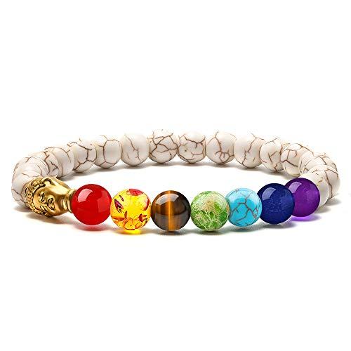 M MOOHAM Buddha Bracelets for Women Beaded - 8mm Natural Stone Chakras White Howlite Stone Bead Bracelet, Men Women Stress Relief Yoga Beads Elastic Semi-Precious Stone Bronze Buddha Bracelet