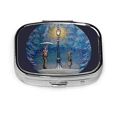 Quadratische Pillendose Narnia Magische Laterne Metall Medizin-Organizer Container Aufbewahrung Reise Tägliche dekorative Box Halter