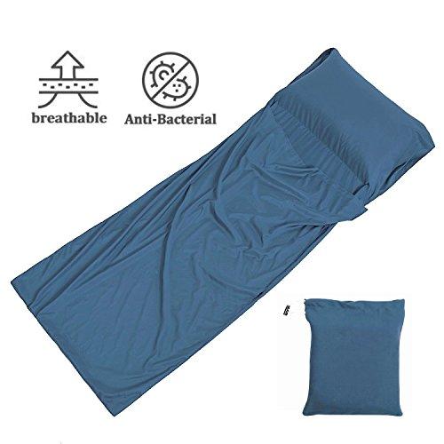 Hüttenschlafsack aus Mikrofaser, Schlafsack Inlett, Schlafsack Inlay, Sommerschlafsack, Reiseschlafsack dünn, leicht & kompakt (W:105 x L:230 cm; Magisches Blau)