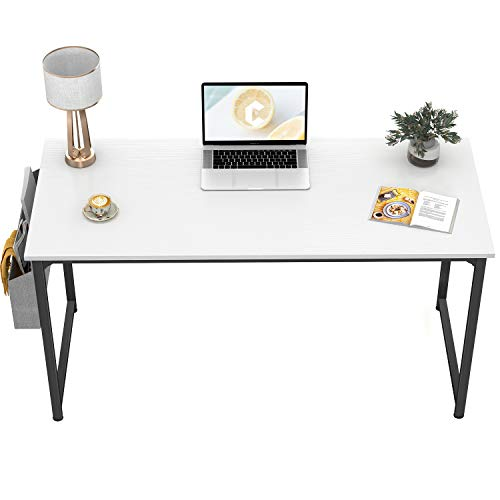"""CubiCubi Computer Desk 47"""" Study Writing Table for Home Office, Modern Simple Style PC Desk, Black Metal Frame, White"""