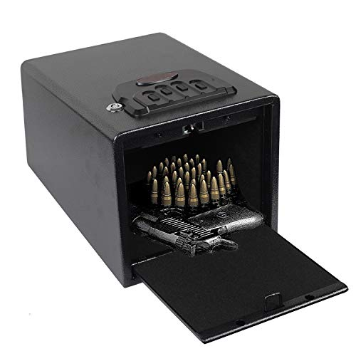 Electronic Gun Safe with Four-keypad&2 Emergency Keys&Rechargeable Battery Smart Quick Access Pistol Safe Storage Security Cabinet Q235 Carbon Steel Handgun Lock Security Box w/Pop-Open Door