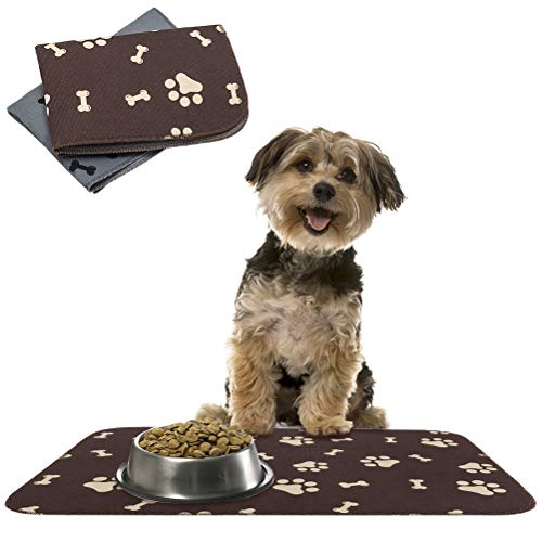 SCENEREAL Waterproof and Non-Slip Dog Food Mat - 2 Pack Pet Feeding Mat - Dog Mat for Bowls 23.6 x 35.4 Inches Treat Mat for Dogs Cats