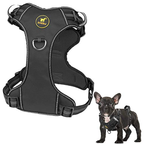ZHEBU Dog Harness for Large Dogs No Pull, Reflective Dog Vest Harness with Handle, Easy Walk Front Clip Harness Dog (Black, L)