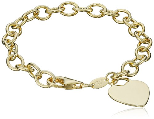 Yellow Gold-Plated Heart-Tag Bracelet, 7'