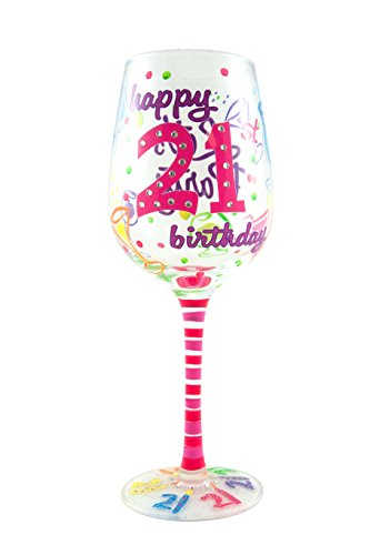 Top Shelf Unique Hand Painted 21st Birthday Wine Glass