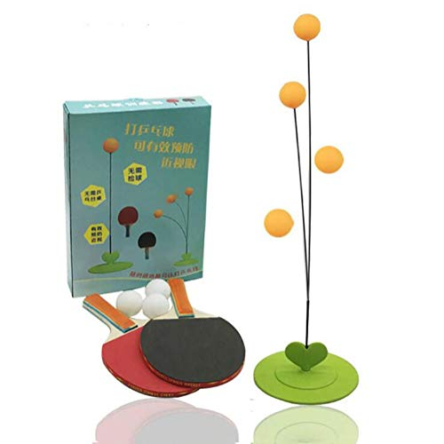 HNHT Tafeltennistrainerset Met Elastische Zachte Schacht, Home Children's Toy Vrije Tijd Decompressiesporten - 2 Rackets, 4 Tafeltennis, 1 Chassis, 2 Flexibele Schachten