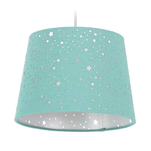 Relaxdays Kinderzimmerlampe Sterne, hängende Schirmlampe, Jungen & Mädchen, Sternenhimmel, E27, runder Stoffschirm, mint, 10028042_213