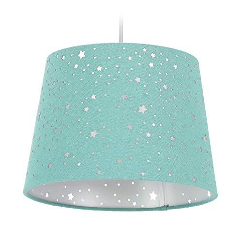 Relaxdays Kinderzimmerlampe Sterne, hängende Schirmlampe, Jungen & Mädchen, Sternenhimmel, E27, runder Stoffschirm, mint