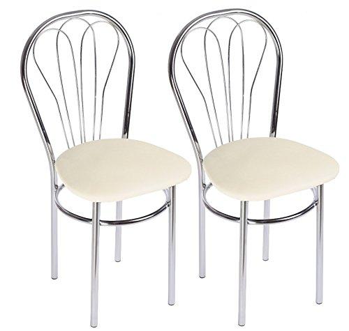 Chaise de Salle à Manger Confortable - Venus Chrome Trapeze - Couleur: Blanc - Lot de 2 Chaises