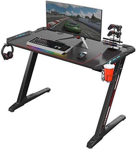BYASW Gaming Desk Gaming-Tisch, Gaming Computer Desk PC Gaming Schreibtische mit Mauspad LED Leuchten Getränkehalter Kopfhörerhaken,Schwarz