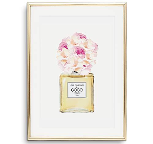 Tales by Jen Kunstdruck, Sprüche Poster: Bouquet in Parfüm Flasche | Stilvolles Premium Poster auf hochwertigem Papier | Stylische Fashion Illustration als Wohnaccessoires und Deko | Ohne Bilderrahmen