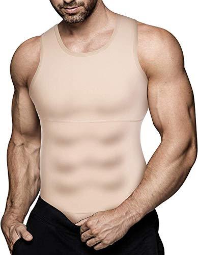 Gotoly Herren Unterhemden Shapewear Workout Tank Tops Kompressionsshirt Muskelshirt Abnehmen Body Shaper Sport Bauch Weg Shirt Unterhemd Feinripp (S, Beige)