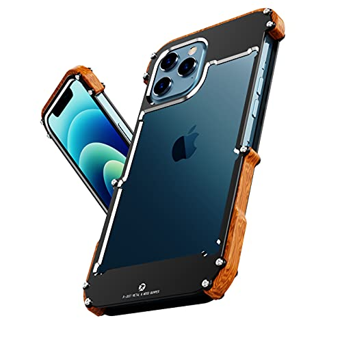 HikerClub iPhone 11 Pro Max Case - Real Nature Stylish Wood Case Metal Bumper Frame Dropproof Cover Aluminum Ultra Slim Hybrid Shockproof Protective Case (iPhone 11 Pro Max 6.5 inch)