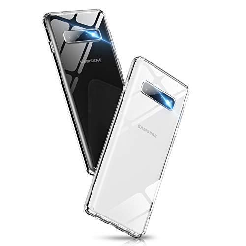 Glashülle kompatibel mit Samsung Galaxy S10 Plus Hülle, Dünn 9H Hartglas Handyhülle, Dualer Rückseite Cover Case, Kratzfeste Schutzhülle mit Weich TPU Bumper, Komplettschutz für Galaxy S10 Plus. Klar