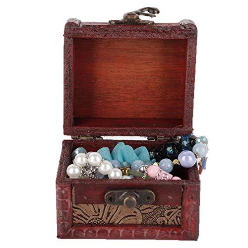 Caja de almacenamiento de madera artesanal vintage conveniente y que ahorra espacio, una hermosa decoración de adorno para el hogar, para almacenar joyas, pulseras, aretes, collares(6015A lotus)