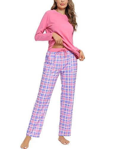 Aibrou Conjuntos de Pijama, Mujer Pijama Conjunto Camiseta y Pantalones Plaid Pijama Largo Mujer Elegante Manga Pantalon Largos Suave Pijama Mujer 2 Piezas Invierno Estilo 1:Rosado 1 M