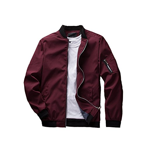 URBANFIND Men's Slim Fit Lightweight Sportswear Jacket Casual Bomber Jacket US L Red