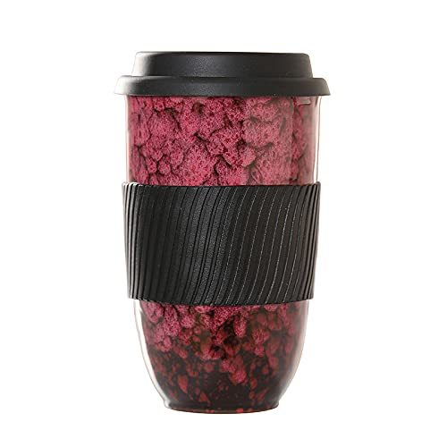 Fenze Ceramic Mug with Silicon Lid and Sleeve Large Portable Reusable Convenient and Uniquely Style for Daily Life