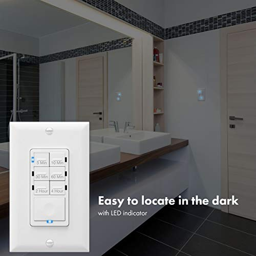 Enerlites Countdown Timer Switch Fan Switch Timer Wall Light Timer Switch Bathroom Timer Switch 5 Min 4 Hours Night Light Led Indicator Neutral Wire Required Ul Listed Het06 4h W White Buy Online