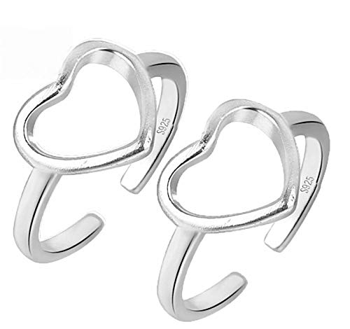 Woasvad 1/2pc Statements Heart Ring S925 Sterling Silver Heart Shaped Ring, Women Simple Hollow Love Adjustable Open Ring (2pc)